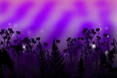 Ultra Violet Background. Beautiful Ultra Violet Night Background with Plants Silhouettes. Trendy 2018 Ultraviolet Color Creative Texture with Space for Text Royalty Free Stock Photos