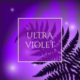 Ultra Violet Background. Beautiful Ultra Violet Background with Fern Leaves Elements. Trendy 2018 Ultraviolet Color Creative Texture with Space for Text Royalty Free Stock Photography