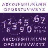 Ultra violet background. Hand written alphabet lettering. Vector set of letters. stock illustration