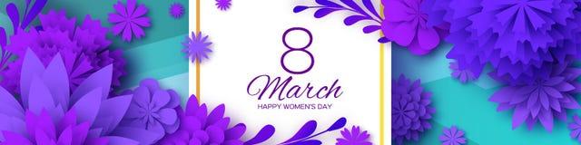 Ultra Violet Banner Fleur coupée de papier rose 8 mars Carte de voeux du jour des femmes Bouquet floral d'origami Trame carrée illustration libre de droits