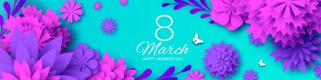 Ultra Violet Banner Pappers- snittblomma för rosa färger 8 mars Kvinnors kort för daghälsningar Blom- bukett för origami Utrymme  stock illustrationer