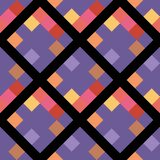 Ultra violet color geometric rhombus pixel seamless pattern. stock illustration