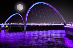 Ultra violet colors in Perth n Australia. Ultra violet colors in Perth on Swan river during moonlight night, in west Australia
