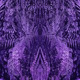 Ultra Violet Floral Mirror Pattern With Fern Leaves royaltyfria foton