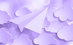 Ultra Violet glitter bokeh background with paper plane and cloud. S. Trendy color Festive and sparkles backdrop Stock Images
