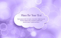 Ultra Violet glitter bokeh background with text on white paper c. Loud. Festive and sparkles Royalty Free Stock Image