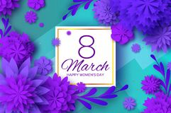 Ultra Violet Paper Cut Flower. 8 March. Womens Day Greetings card. Origami Floral bouquet. Square frame. Text. Spring Stock Photography