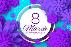 Ultra Violet Paper Cut Flower 8 marzo Cartolina d'auguri del giorno delle donne Mazzo floreale di origami Struttura del cerchio t Fotografia Stock