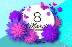 Ultra Violet Pink Paper Cut Flower Farfalla della mosca 8 marzo Cartolina d'auguri del giorno delle donne Mazzo floreale di origa Immagine Stock Libera da Diritti