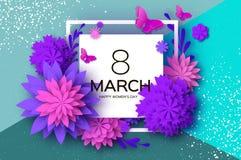 Ultra Violet Pink Paper Cut Flower Farfalla 8 marzo Cartolina d'auguri del giorno delle donne Mazzo floreale di origami Blocco pe Immagine Stock Libera da Diritti