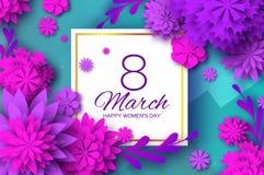 Ultra Violet Pink Paper Cut Flower 8 mars Kvinnors kort för daghälsningar Blom- bukett för origami Fyrkantig ram text vektor illustrationer