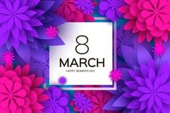 Ultra Violet Pink Paper Cut Flower 8 mars Kvinnors kort för daghälsningar Blom- bukett för origami Fyrkantig ram text stock illustrationer