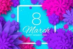 Ultra Violet Pink Paper Cut Flower 8 mars Kvinnors kort för daghälsningar Blom- bukett för origami Fyrkantig ram text royaltyfri illustrationer
