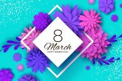Ultra Violet Pink Paper Cut Flower 8 mars Kvinnors kort för daghälsningar Blom- bukett för origami Rombram text vektor illustrationer