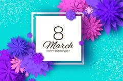 Ultra Violet Pink Paper Cut Flower 8 marzo Cartolina d'auguri del giorno delle donne Mazzo floreale di origami Blocco per grafici Fotografia Stock