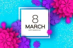 Ultra Violet Pink Paper Cut Flower 8 marzo Cartolina d'auguri del giorno delle donne Mazzo floreale di origami Blocco per grafici Fotografia Stock Libera da Diritti