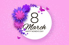 Ultra Violet Pink Paper Cut Flower Papillon de mouche 8 mars Carte de voeux du jour des femmes Bouquet floral d'origami cercle illustration libre de droits