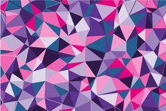 Ultra violet polygonal abstract background. Low poly crystal pattern. Design with triangle shapes. Stock Image