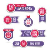 Ultra violet promotion badge icons, retail sign collection, best price business poster. Set of ultra violet banner elements, vecto. R offer tag collection Royalty Free Illustration