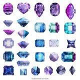 Ultra violet and purple gems. Ultra violet and purple and blue gems vector illustration