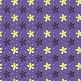 Ultra violet seamless pattern with flowers and dots. Vector illustration Stock Photography