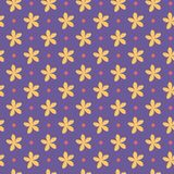 Ultra violet seamless pattern with flowers and dots. Vector illustration Royalty Free Stock Photography
