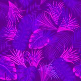 Ultra violet seamless pattern of tropical leaves of palm tree. Vector background Stock Photo
