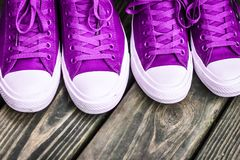 Free Ultra Violet Sneakers Royalty Free Stock Photo - 112622075