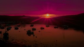 Ultra Violet Sunset on a Breton Harbor royalty free stock photos