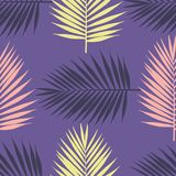 Ultra violet tropical palm leaves seamless pattern. Vector illustration Stock Photography