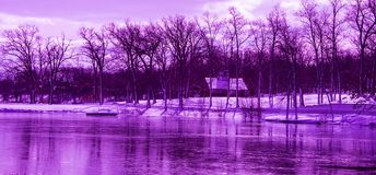 Ultra-violet Winter Landscape royalty free stock photo