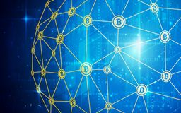 Ultra währung HD-Zusammenfassung Bitcoin Schlüsselblockchain-Technologie-Weltkarte-Hintergrund-Illustration Datenbank, künstlich Lizenzfreie Stockbilder