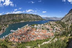 Ultra wide angle Kotor. Ultra wide angle of the Bay of Kotor and the old walled city of Kotor in Montenegro stock photography