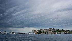 Ultra wide angle of Manaus with cloudy sky, Amazon Stock Photography