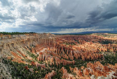 Ultra wide angle perspective of bryce canyon amphitheater on a s Royalty Free Stock Photos