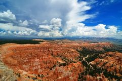 Bryce canyon amphitheater with dramatic sky Stock Photos