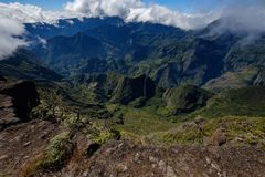 Ultra-wide angle view of the cirque of Mafate stock photos