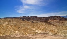 Ultra-wide angle view of Zabriskie point. Badland at Zabriskie point  in Death Valley National Park, California, USA. Ultra wide angle shot Stock Image