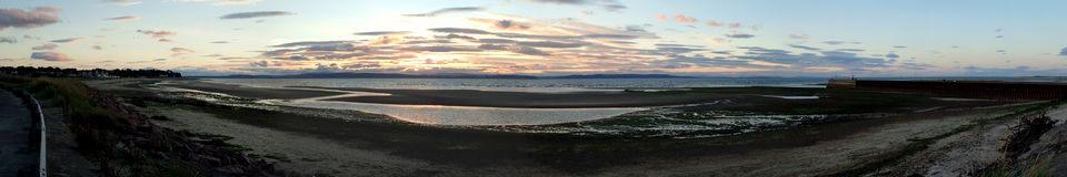 Free Ultra Wide Panoramic View Of Sunset From Nairn Harbour Stock Images - 97948764