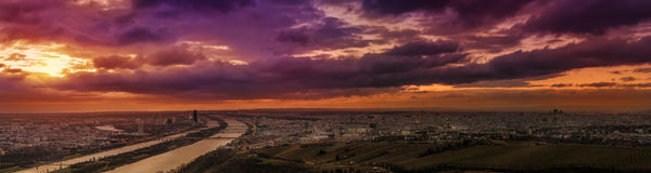 Ultra wide panoramic view of Vienna Austria Royalty Free Stock Image