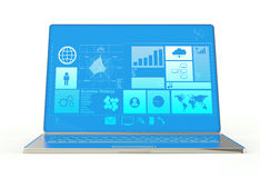 Ultrabook do caderno do portátil com inteface novo ilustração stock