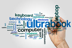Ultrabook word cloud. Concept on grey background Royalty Free Stock Images