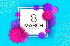 Ultrafioletowego menchia papieru Rżnięty kwiat 8 Marzec Kobieta dnia powitań karta Origami Kwiecisty bukiet Kwadratowa rama tekst royalty ilustracja
