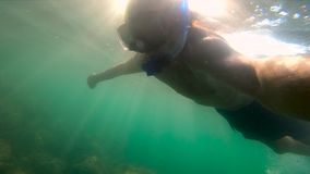 Ultrahd slowmotion underwater shot of a man snorkeling in sea at a troical island.  stock video
