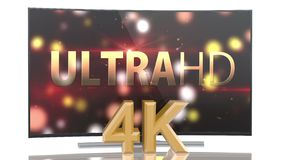 UltraHD Smart Tv with Curved screen animation. UltraHD Smart Tv with Curved screen on white background animation stock footage