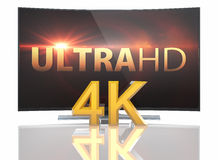 UltraHD Smart Tv with Curved screen. On white background royalty free illustration