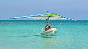 Ultralight Aircraft Landing on Water Stock Photography