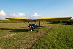 Ultralight aircraft parked in apron Royalty Free Stock Images