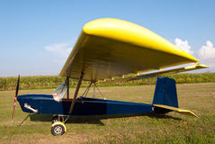 Ultralight aircraft parked in apron Stock Image