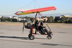 Ultralight airplane. Ultralight experimental airplane on the ground Stock Photo